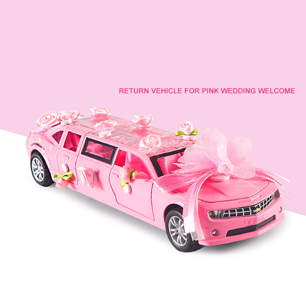 1:32 Lengthen Wedding Greet Guests Car Model with Light Sound Pull Back Toy Pink