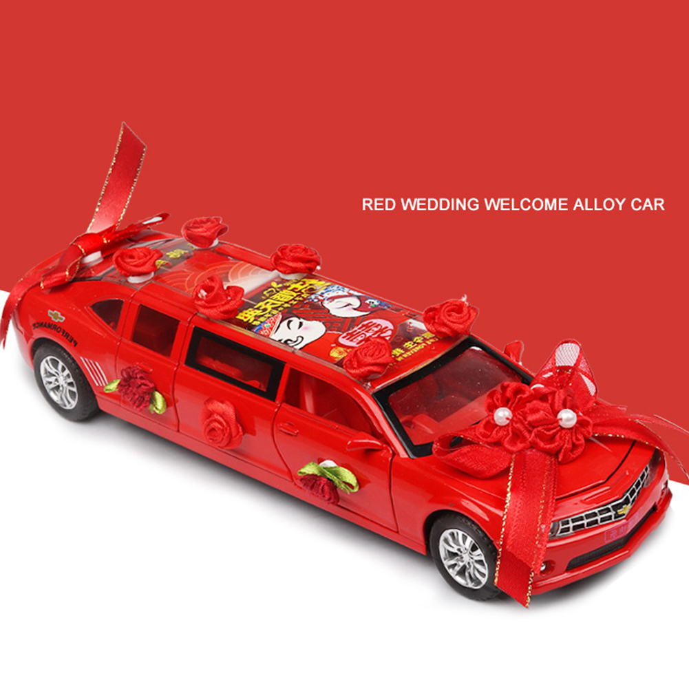 1:32 Lengthen Wedding Greet Guests Car Model with Light Sound Pull Back Toy red