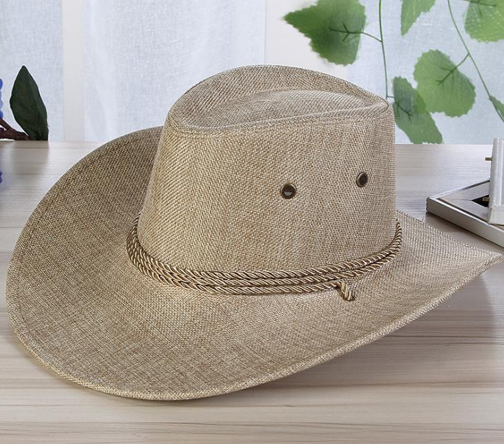 Men Summer Cool Western Cowboy Hat Outdoor Wide Brim Hat   cream-coloured