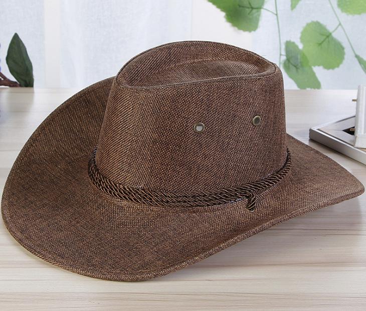 Men Summer Cool Western Cowboy Hat Outdoor Wide Brim Hat   coffee