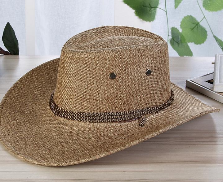 Men Summer Cool Western Cowboy Hat Outdoor Wide Brim Hat   Khaki