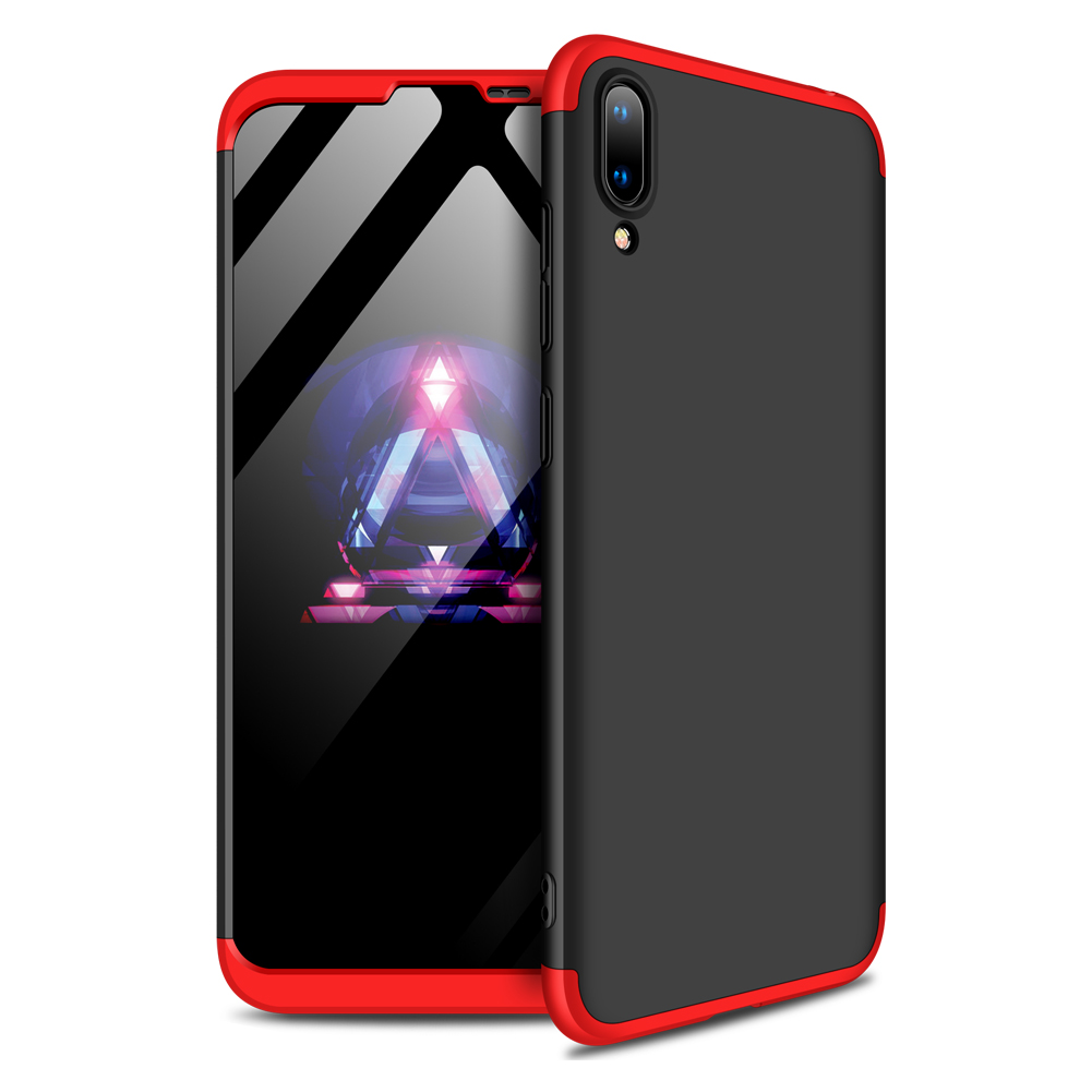 For HUAWEI Y7 pro 2019 Ultra Slim PC Back Cover Non-slip Shockproof 360 Degree Full Protective Case Red black red