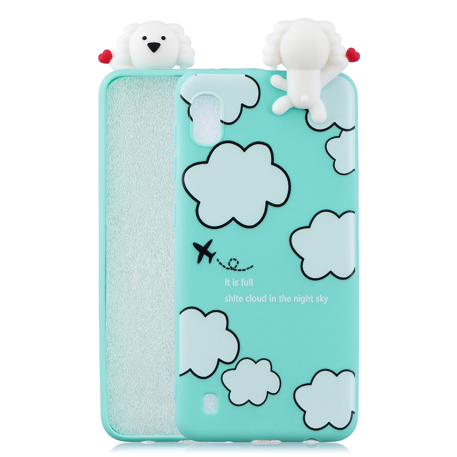 For Samsung A10 3D Cute Coloured Painted Animal TPU Anti-scratch Non-slip Protective Cover Back Case Cloud