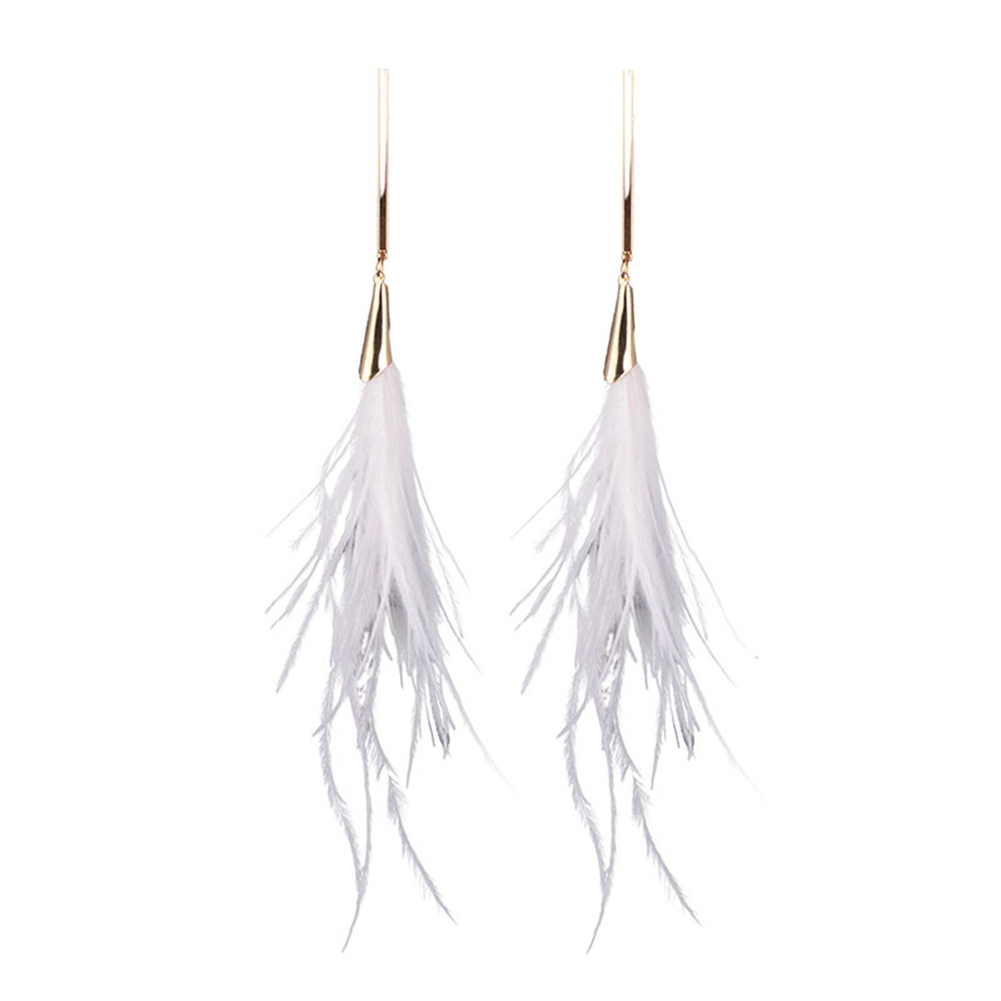 Creative Elegant Feather Dangle Earrings Women Fashion Simple Long Earring Christmas Gift