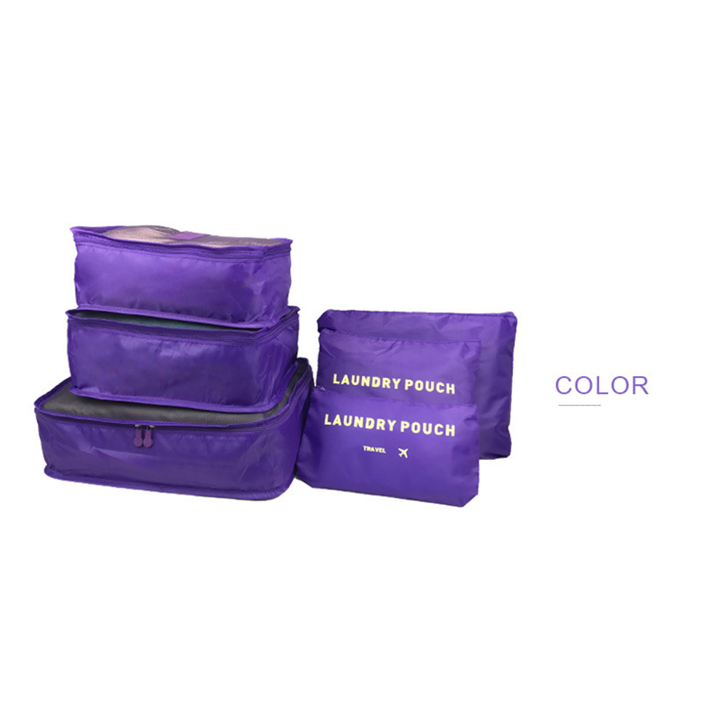 6Pcs/Set Multifunction Thicken Storage Bag for Travel Clothes Shoes Luggage Organize purple_large