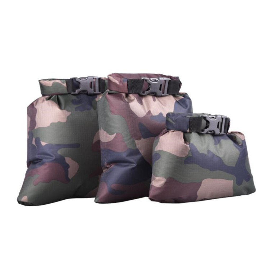 3pcs/set Coated Waterproof Dry Bag Storage Pouch Rafting Canoeing Boating Dry Bag Military camouflage_1.5L 2.5L 3.5L