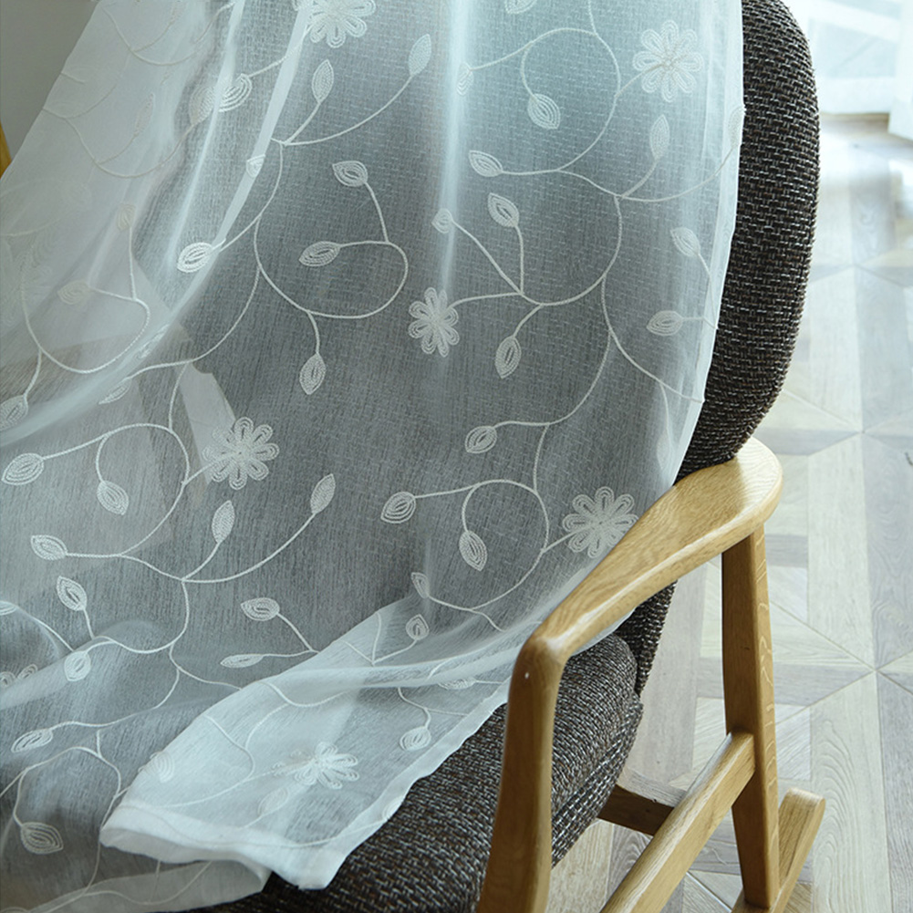 Plum Blossom Embroidered Tulle Curtain for Home Bedroom Living Room Privacy Protect white_W 100cm * H 250cm