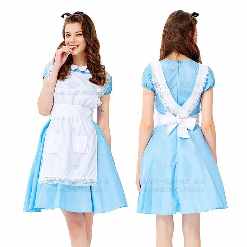 Women Oktoberfest Halloween Alice Costume Cafe Work Uniform Maid Costume Suit blue_L