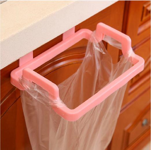 Door Hanging Garbage Bag Holder Rag Rack for Home Kitchen Cabinet Storage Pink