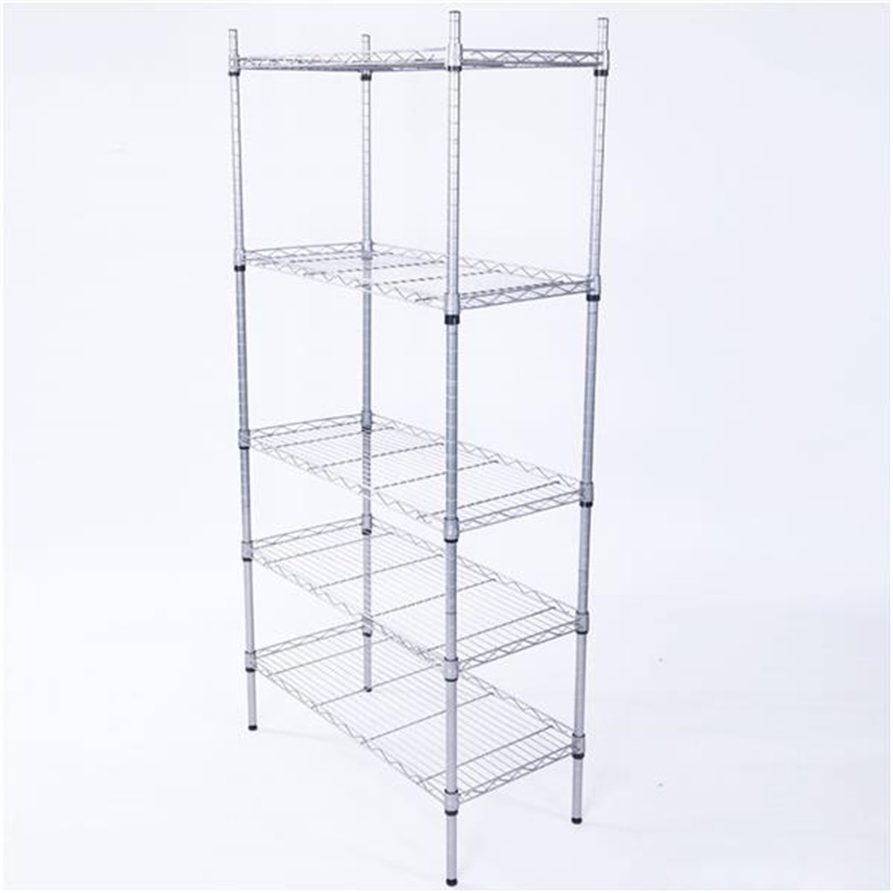 [US Direct] Carbon Steel 5 Layer Storage  Rack Assembled Metal Shelving Rack For Kitchen Bedroom Silver gray