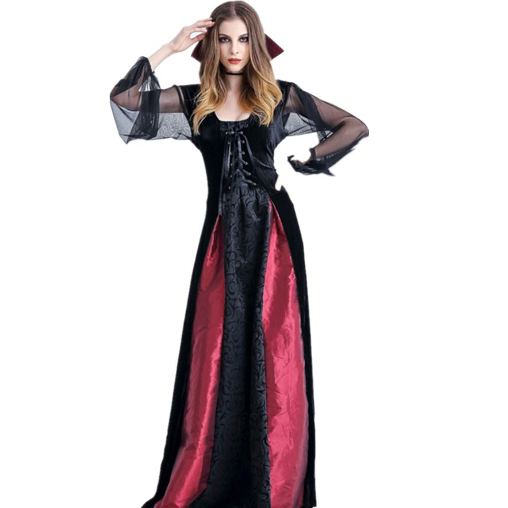 Womens Cosplay Dresses Halloween Cosplay Vampire Witch Vintage Gothic Long Dress Fashion Festival Dress Lange Jurken Black red_L