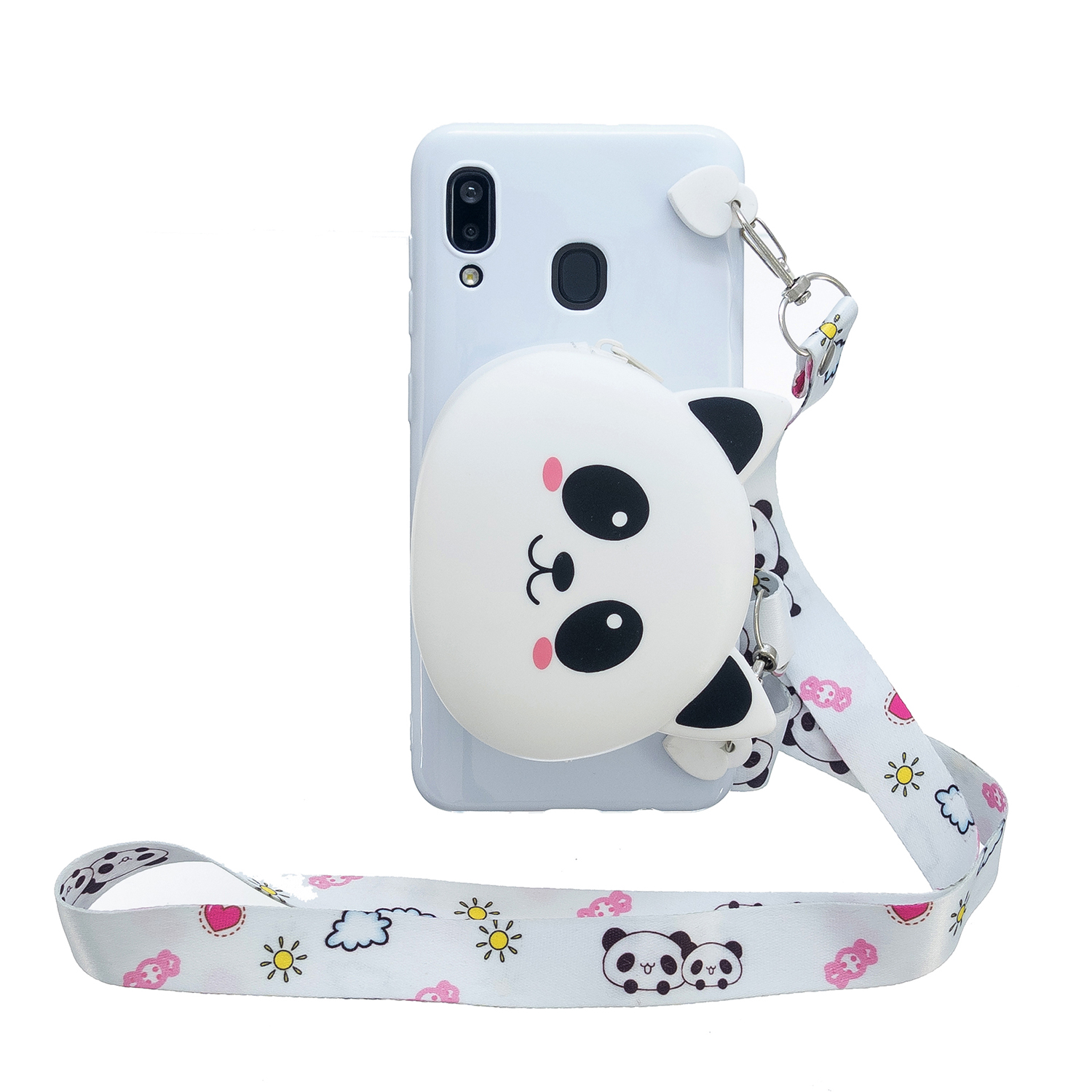 For Samsung A10/A20/A30 Case Mobile Phone Shell Shockproof TPU Cellphone Cover with Cartoon Cat Pig Panda Coin Purse Lovely Shoulder Starp  White