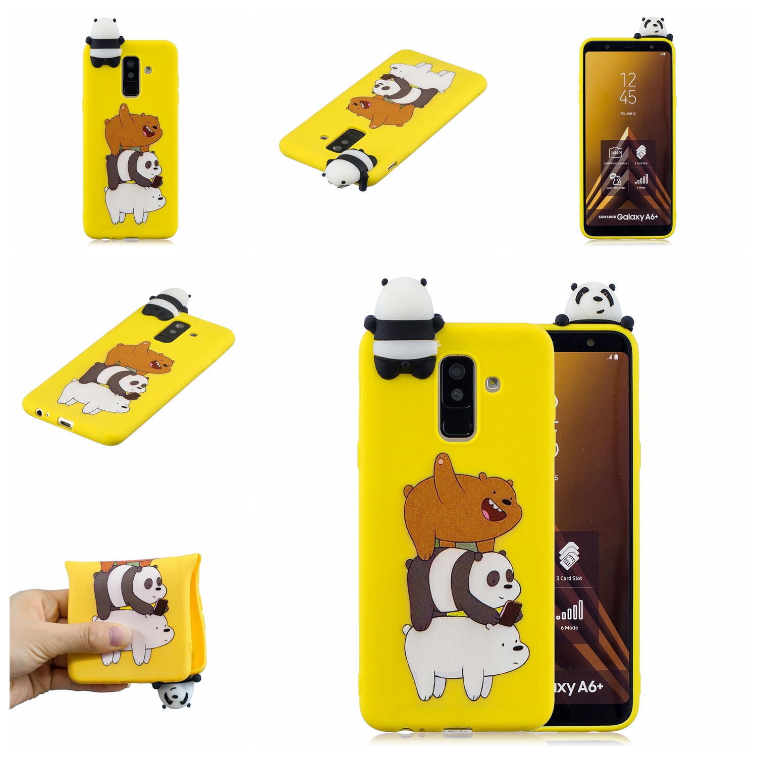 For Samsung A6 plus 2018 3D Cartoon Lovely Coloured Painted Soft TPU Back Cover Non-slip Shockproof Full Protective Case Striped bear