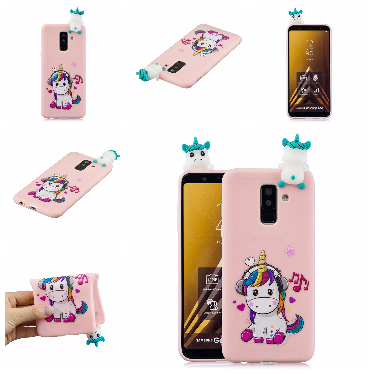 For Samsung A6 plus 2018 3D Cartoon Lovely Coloured Painted Soft TPU Back Cover Non-slip Shockproof Full Protective Case Music unicorn