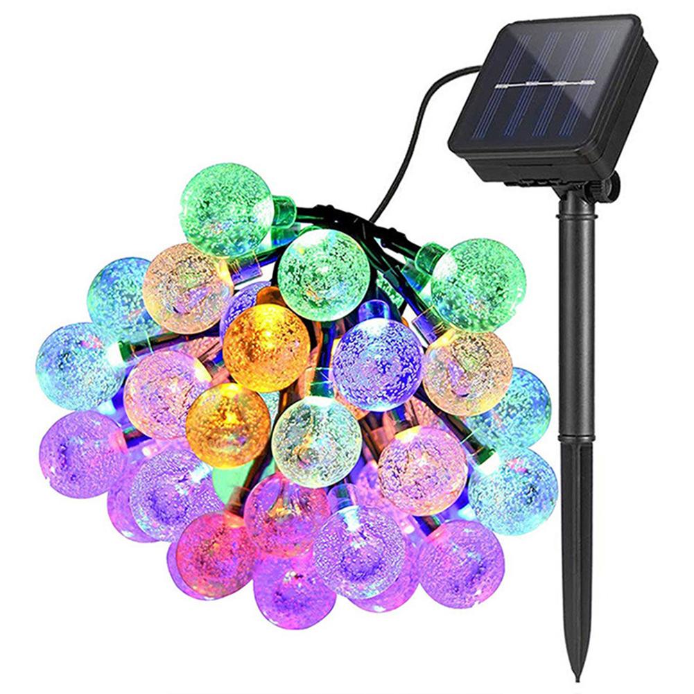 Christmas Xmas Solar LED Crystal Ball Lighting Outdoor Garden Light String Festival Party Decoration Lantern 3m-20LEDs battery (colorful light)