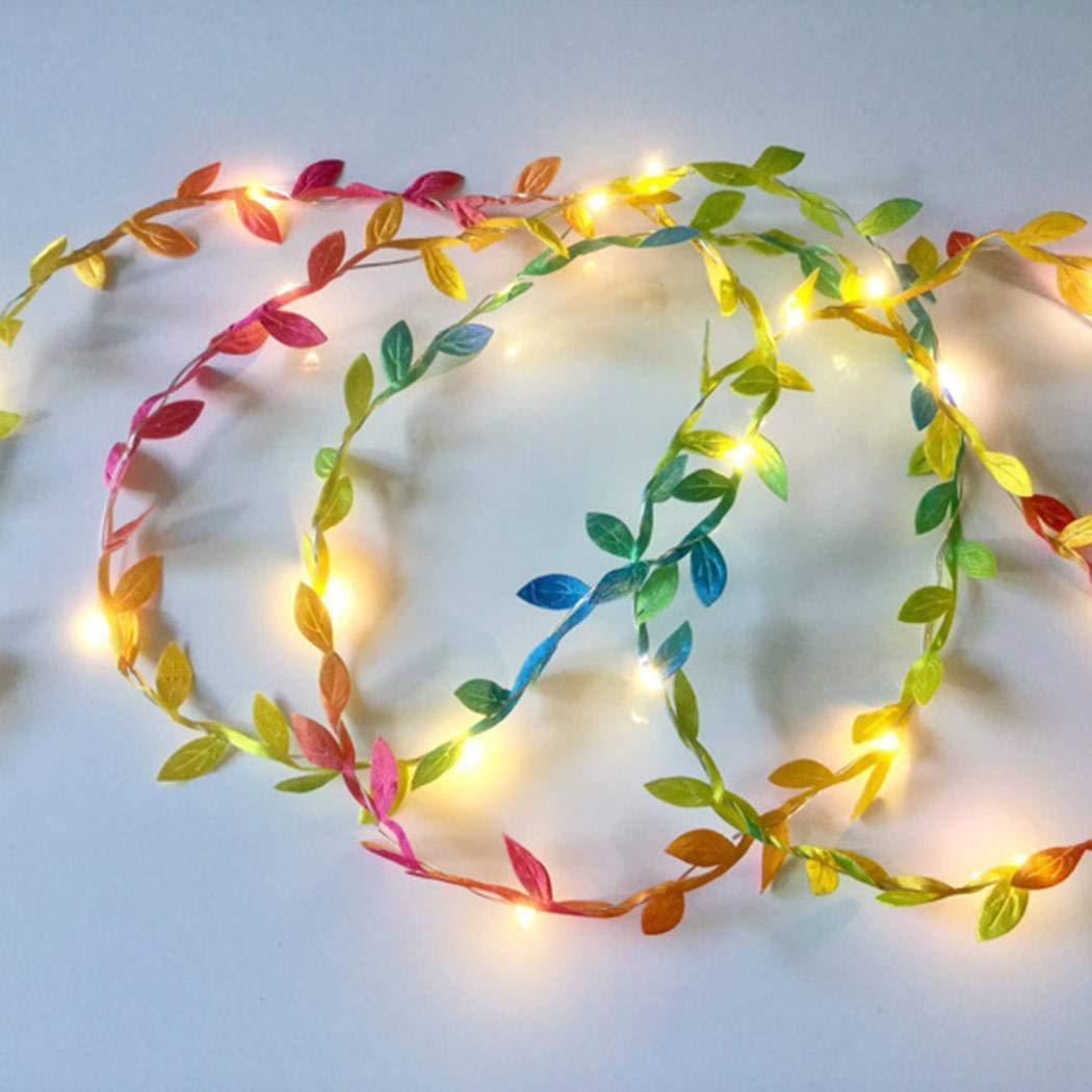Simulate Leaf Garland String Light Flexible Copper Wire Artificial Leaves Lamp for Christmas Wedding Party Colored leaf rattan_5m copper wire lamp (battery box)