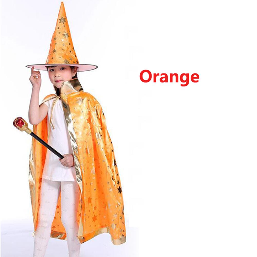 2Pcs/Set Children Halloween Chrismas Party Cosplay Costume Star Wizer Cloak Cap Hat 80 orange five-star cloak + hat