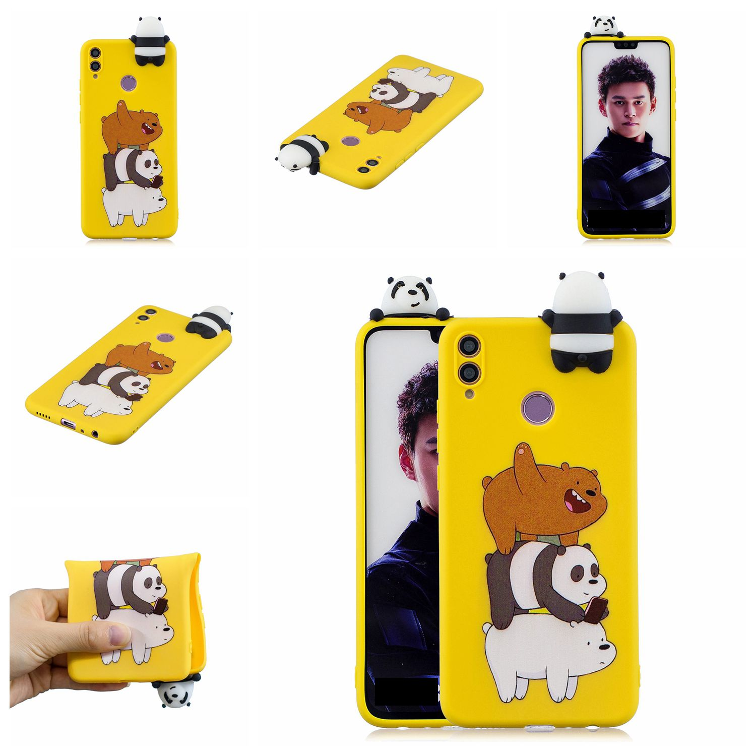 For Huawei Nova 3I 3D Cartoon Lovely Coloured Painted Soft TPU Back Cover Non-slip Shockproof Full Protective Case Striped bear
