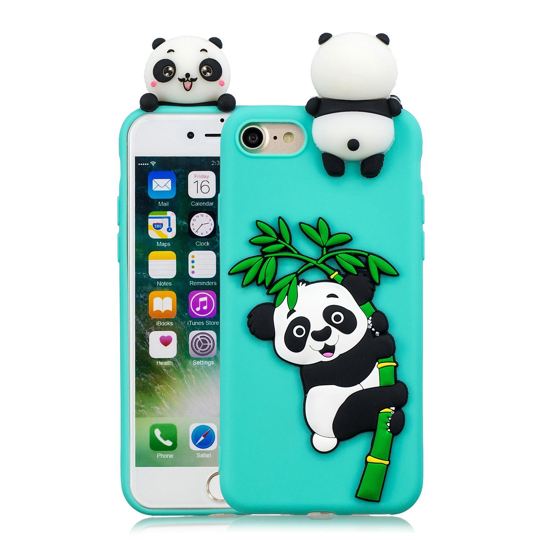 For iPhone 5/5S/SE/6/6S/6 Plus/6S Plus/7/8/7 Plus/8 Plus Phone Case 3D Cartoon Panda Bamboo Cellphone Back Shell Shockproof Smartphone Cover Light blue