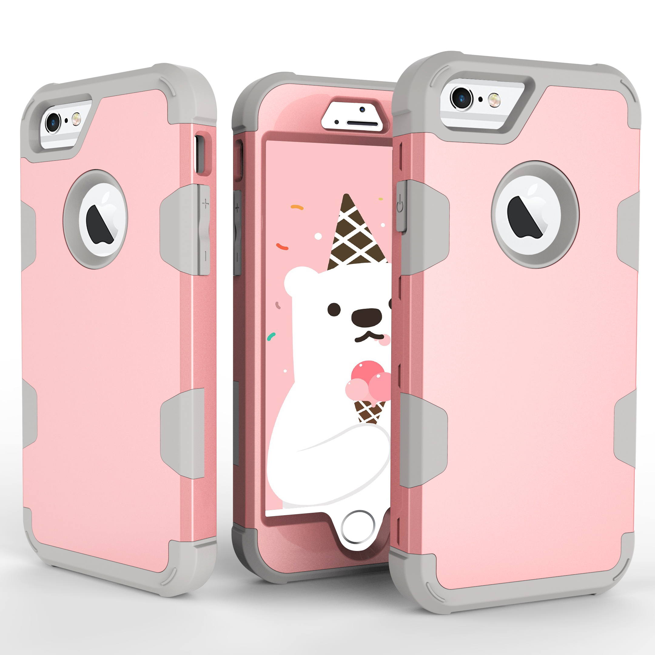 For iPhone 6/6S PC+ Silicone 2 in 1 Hit Color Tri-proof Shockproof Dustproof Anti-fall Protective Cover Back Case Rose gold + gray