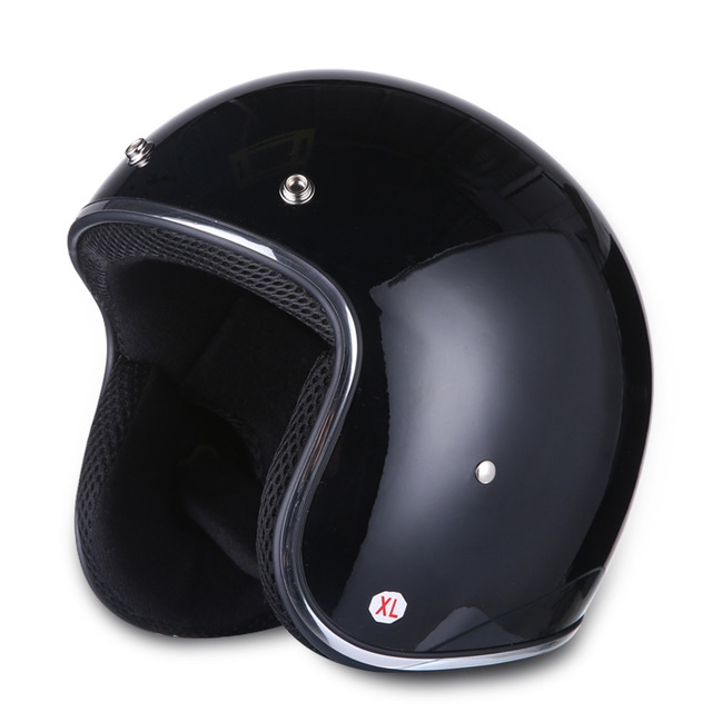 High Strength Retro Motorcycle Helmet Vintage Half Face Moto Helmet Bright black XXL