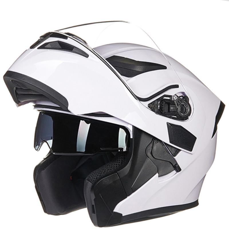 Double Lens Motorcycle Helmet White L