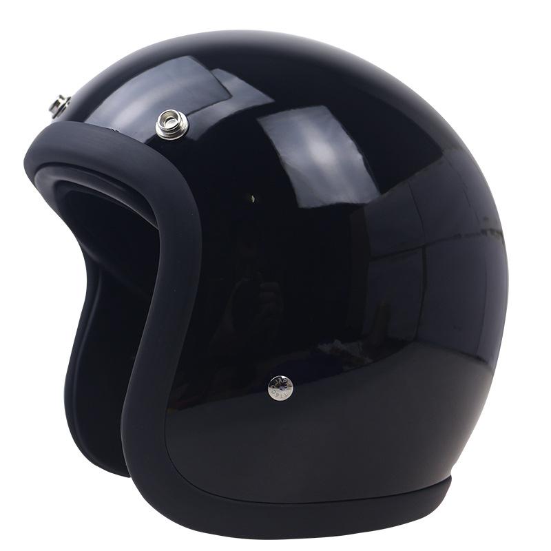 3/4 Glass Fiber High Strength Vintage Motorcycle Helmet  Bright black L