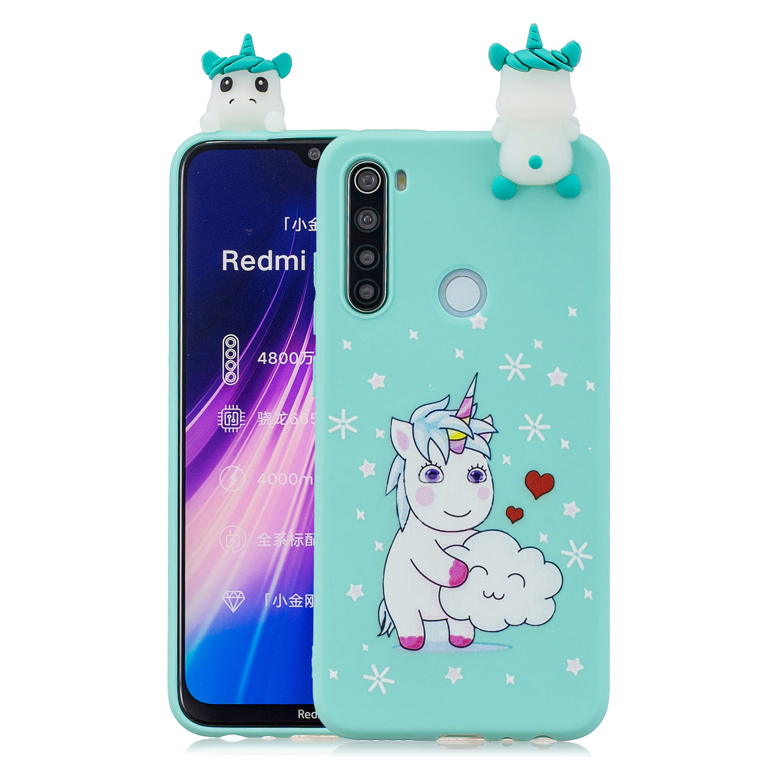 For Redmi NOTE 8T 3D Cartoon Painting Back Cover Soft TPU Mobile Phone Case Shell Love Unicorn