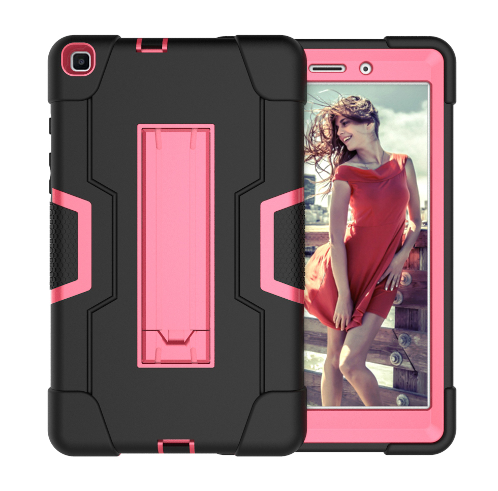 For Samsung Tab A T290 T295 PC+ Silicone Hit Color Armor Case Tri-proof Shockproof Dustproof Anti-fall Protective Tablet Cover  Black + rose red