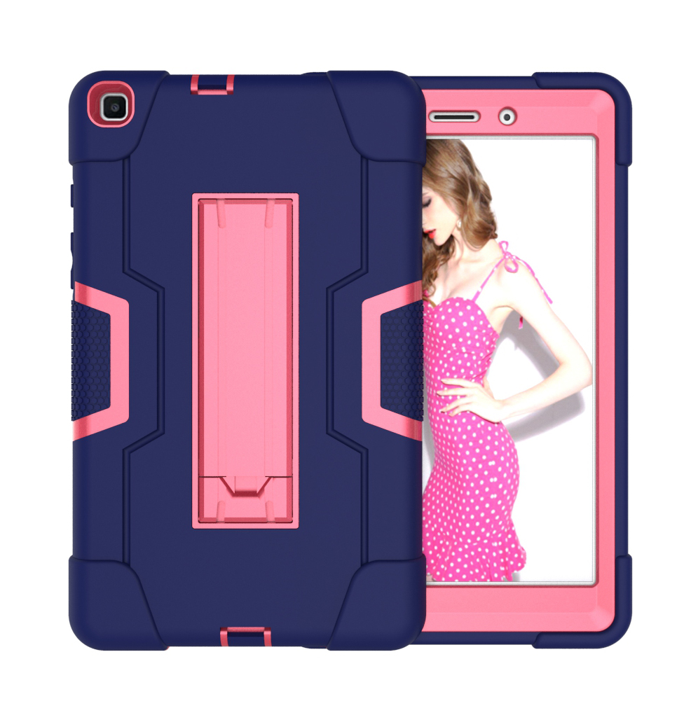For Samsung Tab A T290 T295 PC+ Silicone Hit Color Armor Case Tri-proof Shockproof Dustproof Anti-fall Protective Tablet Cover  Navy + Rose
