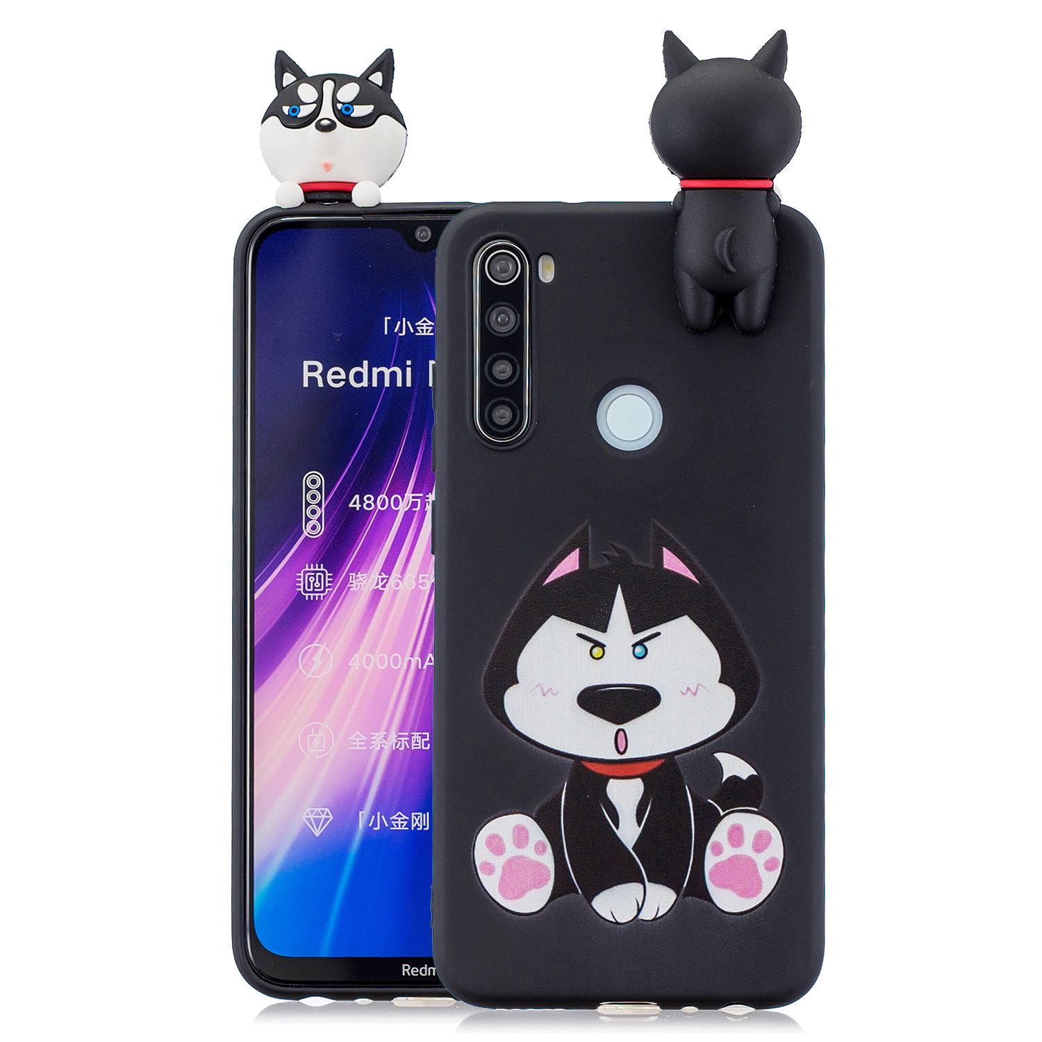 For Redmi NOTE 8T 3D Cartoon Painting Back Cover Soft TPU Mobile Phone Case Shell Cute husky