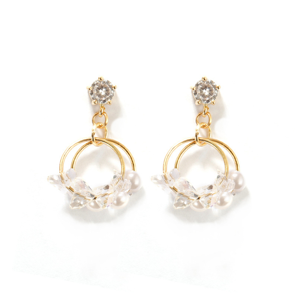 Women Fashion Double Layer Crystal Pearl Elegant Earrings