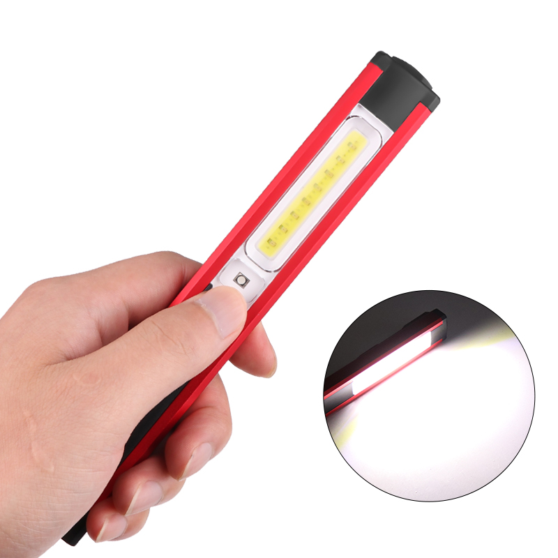 SMD+COB+Red Light Built in Battery with Magnet Pen Clip Thin Working Lamp red_Model WL03