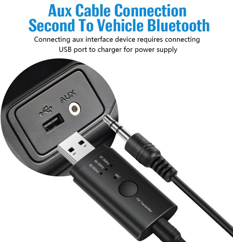 USB Bluetooth FM transmitter car FM car Bluetooth hands-free USB Bluetooth receiver black