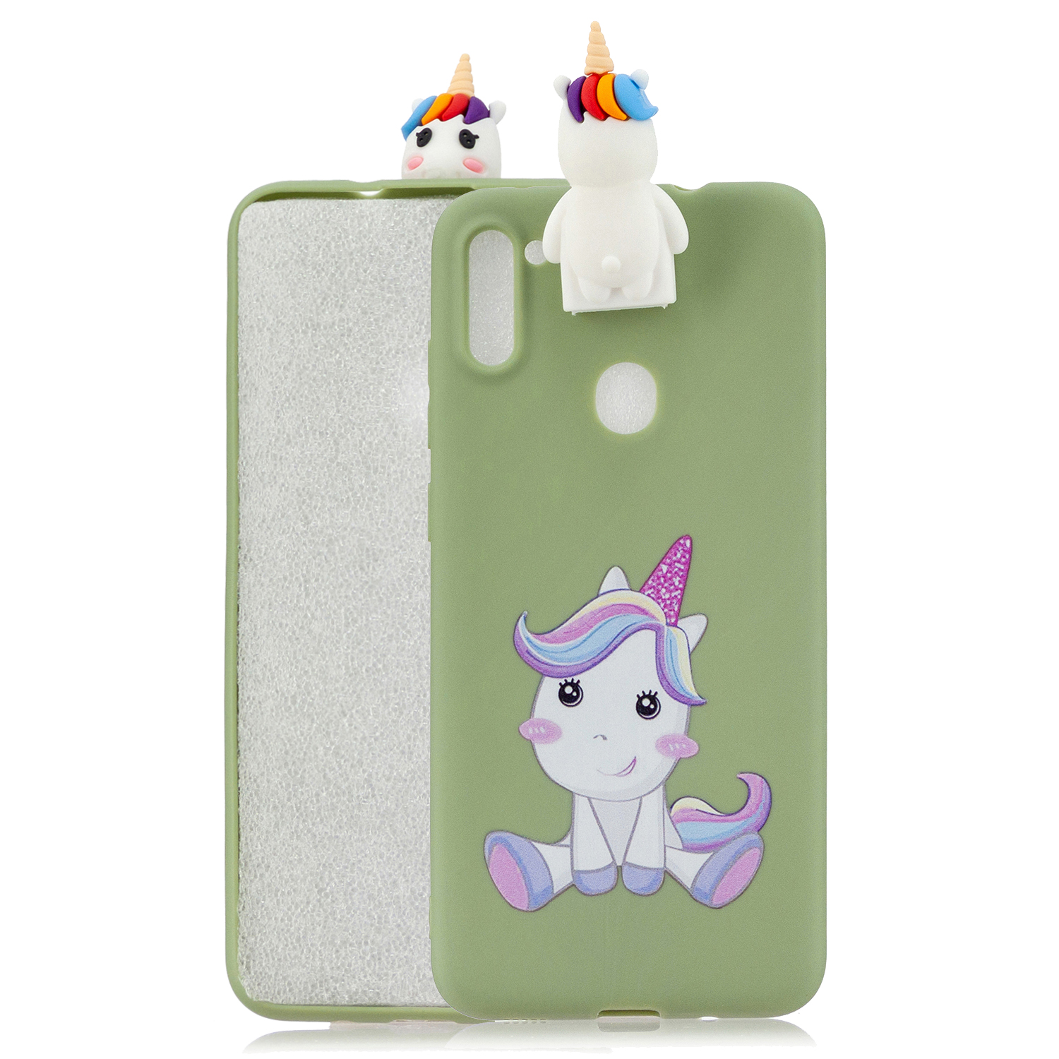 For Samsung A11 Soft TPU Back Cover Cartoon Painting Mobile Phone Case Shell with Bracket Cute Horse