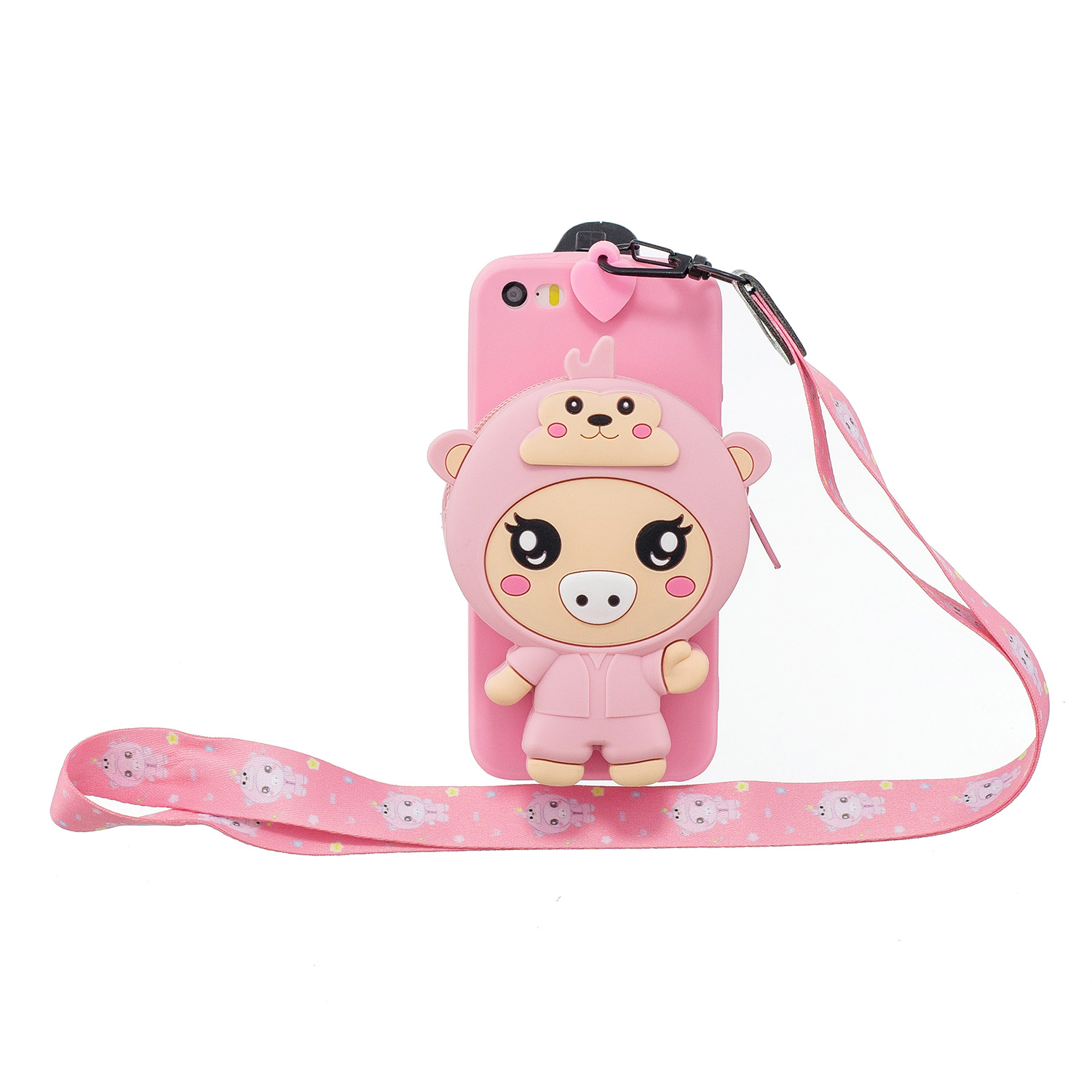 For Iphone 5 / 5S / SE Cartoon Hanging Lanyard + Fall Resistant Cartoon TPU Full Protective Mobile Phone Cover with Coin Purse 3 deep pink piglets