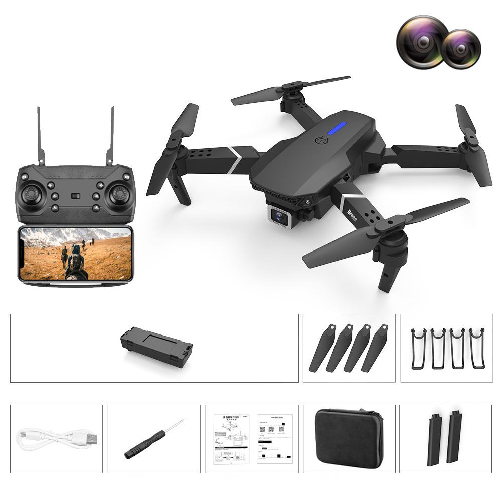 LS-E525 PRO Three Side Obstacle Avoidance HD RC Quadcopter 4K pixels dual lens storage bag_3 battery package