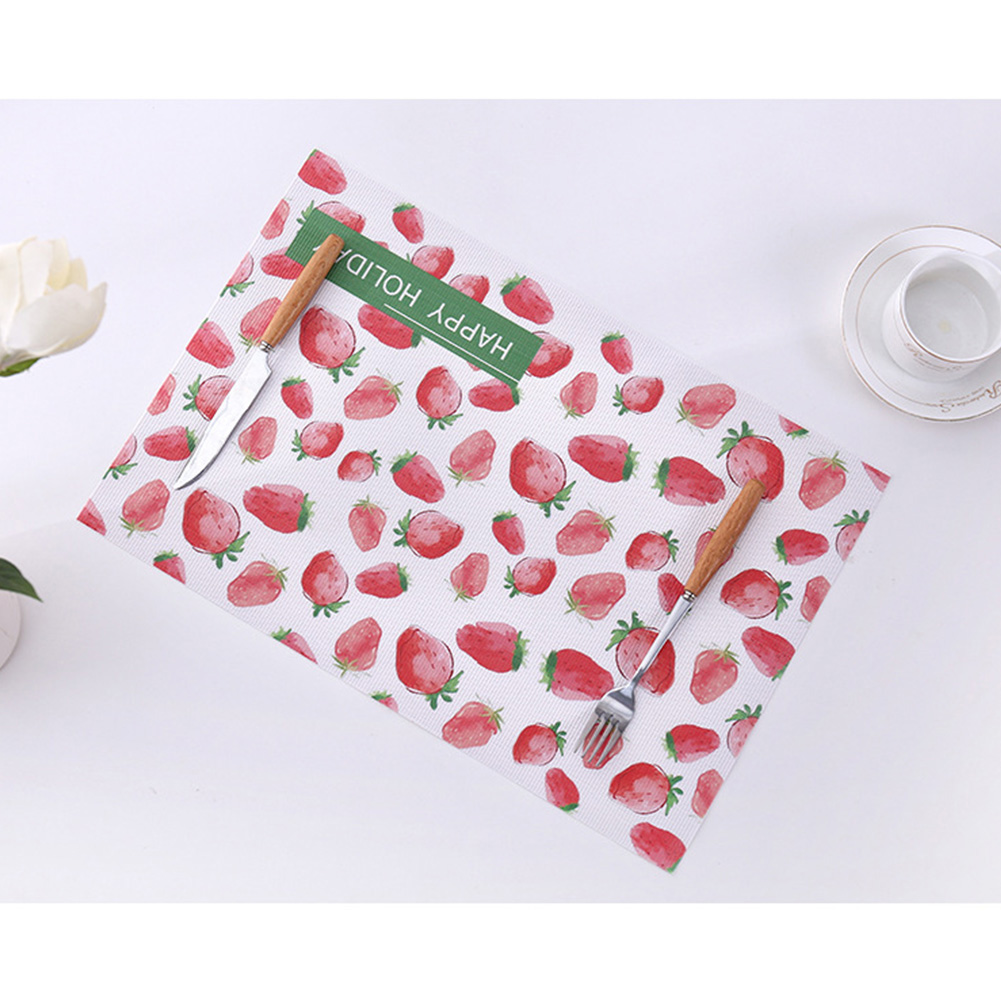 Placemat Tableware Mat Fruit Print Waterproof Insulation Decorative Dining Bowl Pad 45*30cm Strawberry_45X30cm