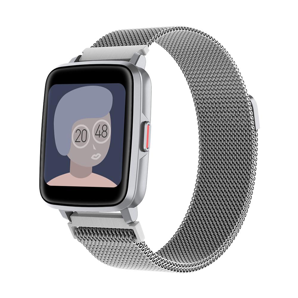 Smart  Watch Hd Screen Music Ip68 Waterproof Sports Monitoring Heart Rate Sleep Pedometer Smart Watch Silver steel belt