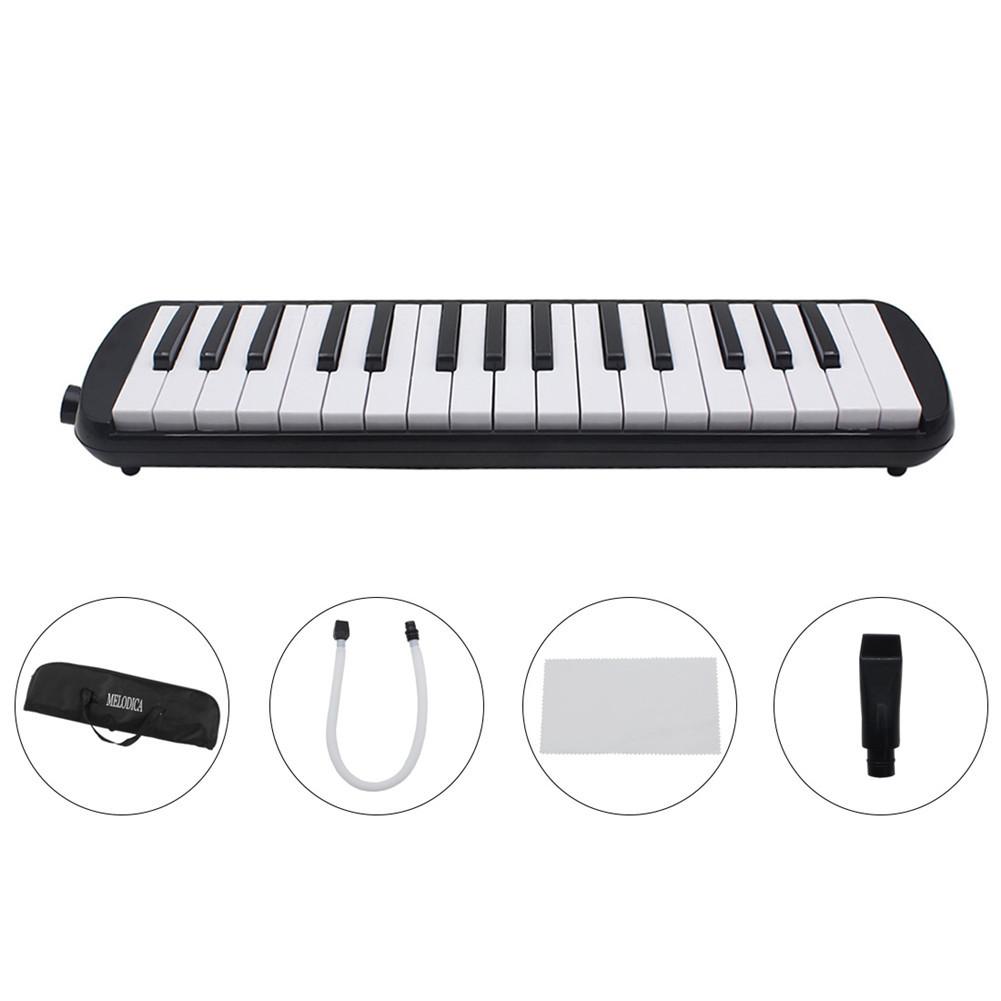 1 set 32 Key Piano Style Melodica With Box Organ Accordion Mouth Piece Blow Key Board black