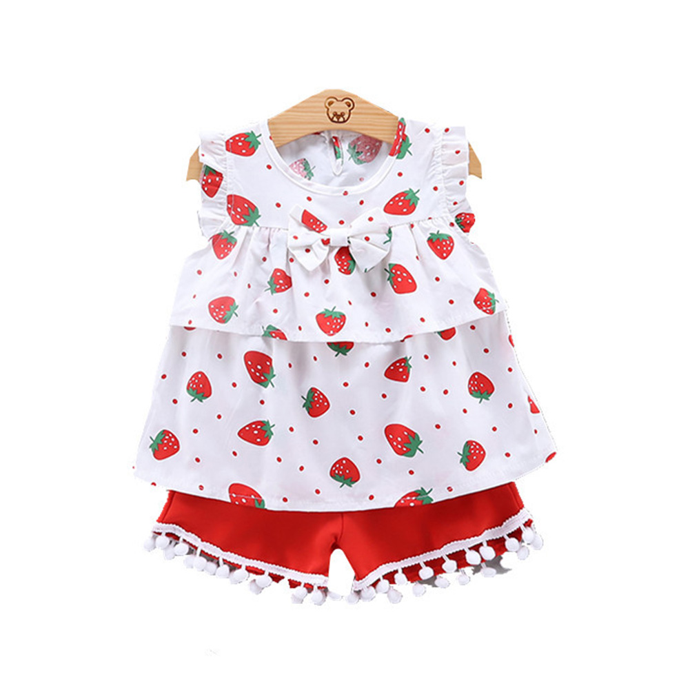2pcs/set Girls' Vest Suit Cotton Strawberry Pattern Sleeveless Vest Shorts for 0-4 Years Old Baby  red_90cm