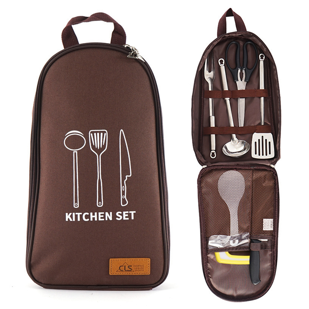 7 PCs Camping Kitchen Utensil Set Camp Cookware Utensils Organizer Travel Kit  Coffee Color