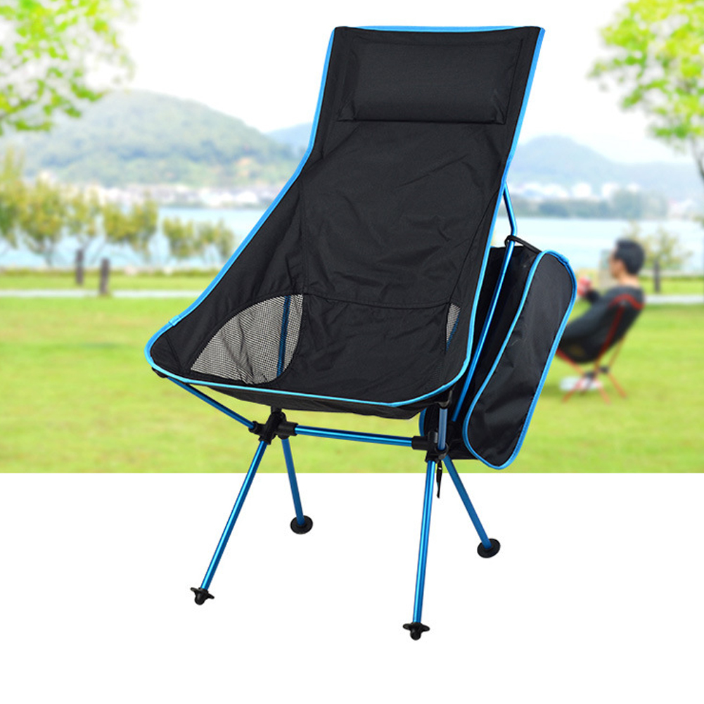 Outdoor Folding Chair Barbecue Chair Recliner BBQ Folding Chair Fishing Chair Aluminum Alloy Chair sky blue_40 * 43.5cm