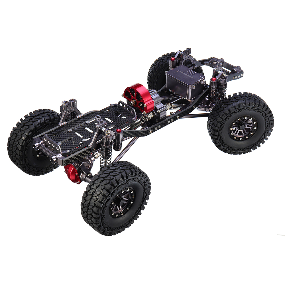 CNC Aluminum Metal Carbon Frame Body for 1/10 Crawler AXIAL SCX10 Rc Car Chassis 313mm Wheelbase as shown