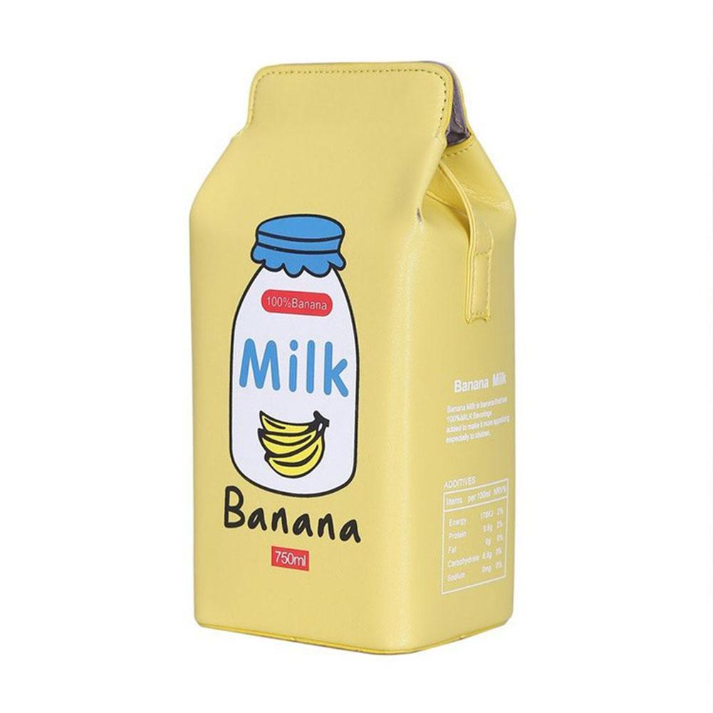 Women Cute Cartoon Milk Box Shoulder Bag Crossbody Bag Casual Phone Purse  banana