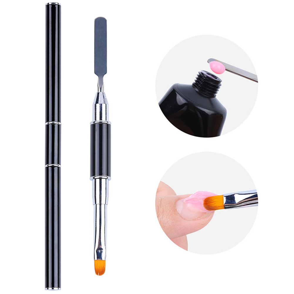Dual Use Nail Pen Steel Push Light Therapy Pen Quickly Extend Crystal Gel Pen Take Glue Stick Nail Extension Gel Set Black lever
