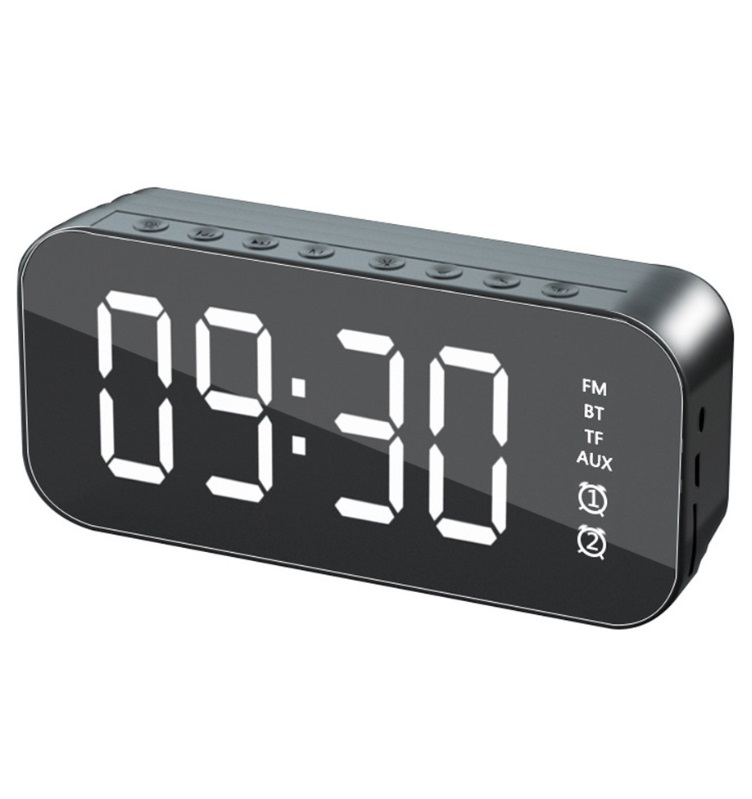 Bluetooth Speaker Mirror Multifunction Led Alarm Clock with Built-in Microphone black