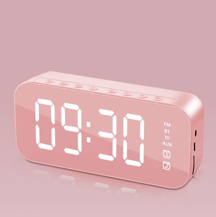 Bluetooth Speaker Mirror Multifunction Led Alarm Clock with Built-in Microphone Pink