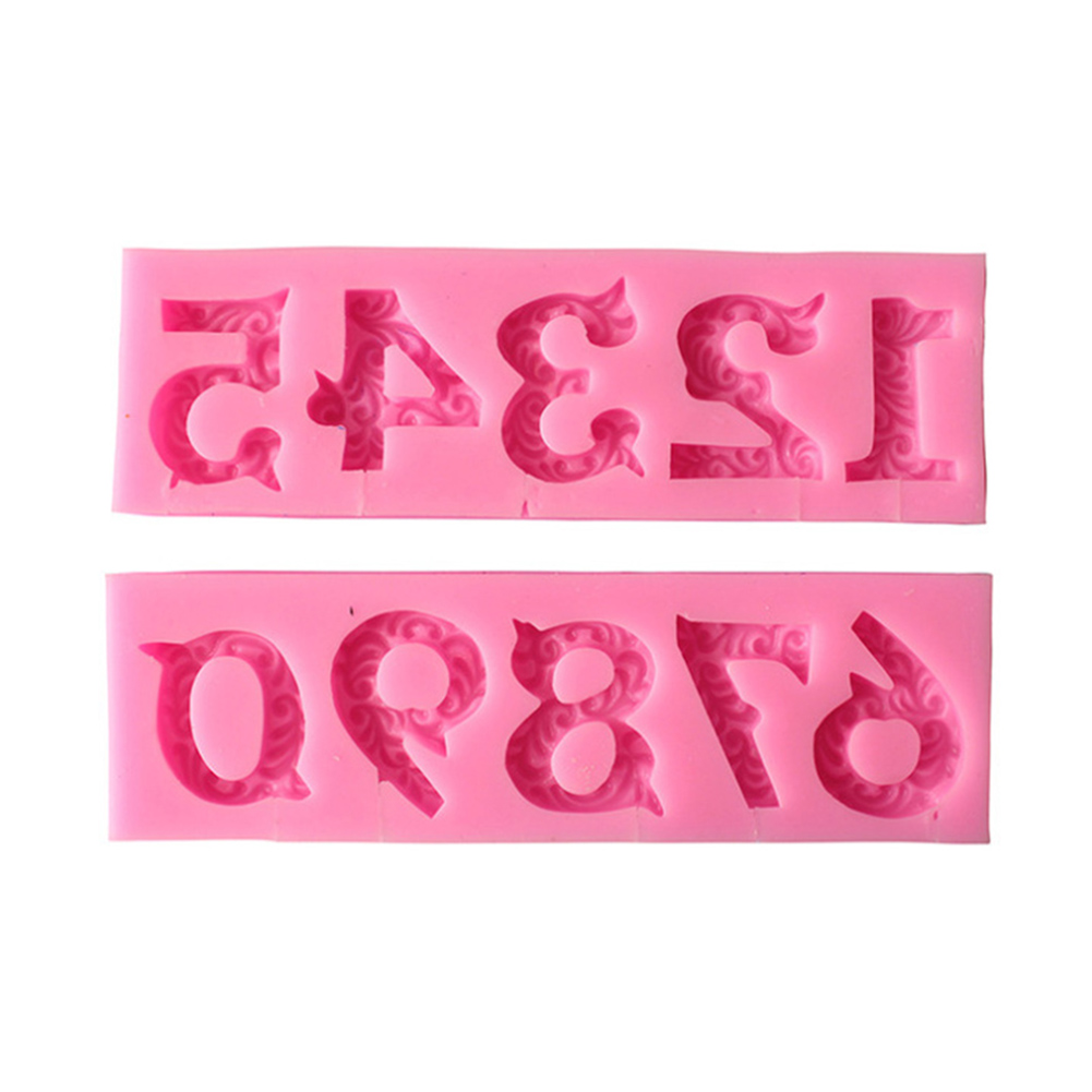 0-9 Numbers Birthday Digital Mold Lollipop Mould Number Shape Silicone Cake Mold Chocolate Mould Birthday Cake Tools Pink