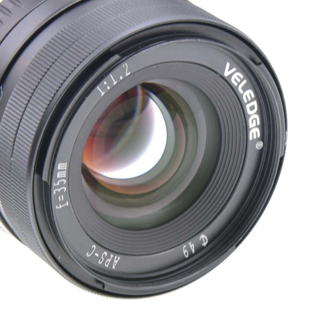 VELEDGE 35MM F1.2 Large Aperture Manual Lens for Fuji Cameras X-A1 X-A10 X-A2 X-A3 X-at X-M1 X-M2 X-T1 X-T10 X-T2 X-T20 X-Pro1 X-Pro2 X-E1 X-E2 X-E2s  black
